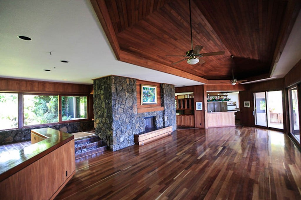 The residence is beautifully adorned exotic hardwoods