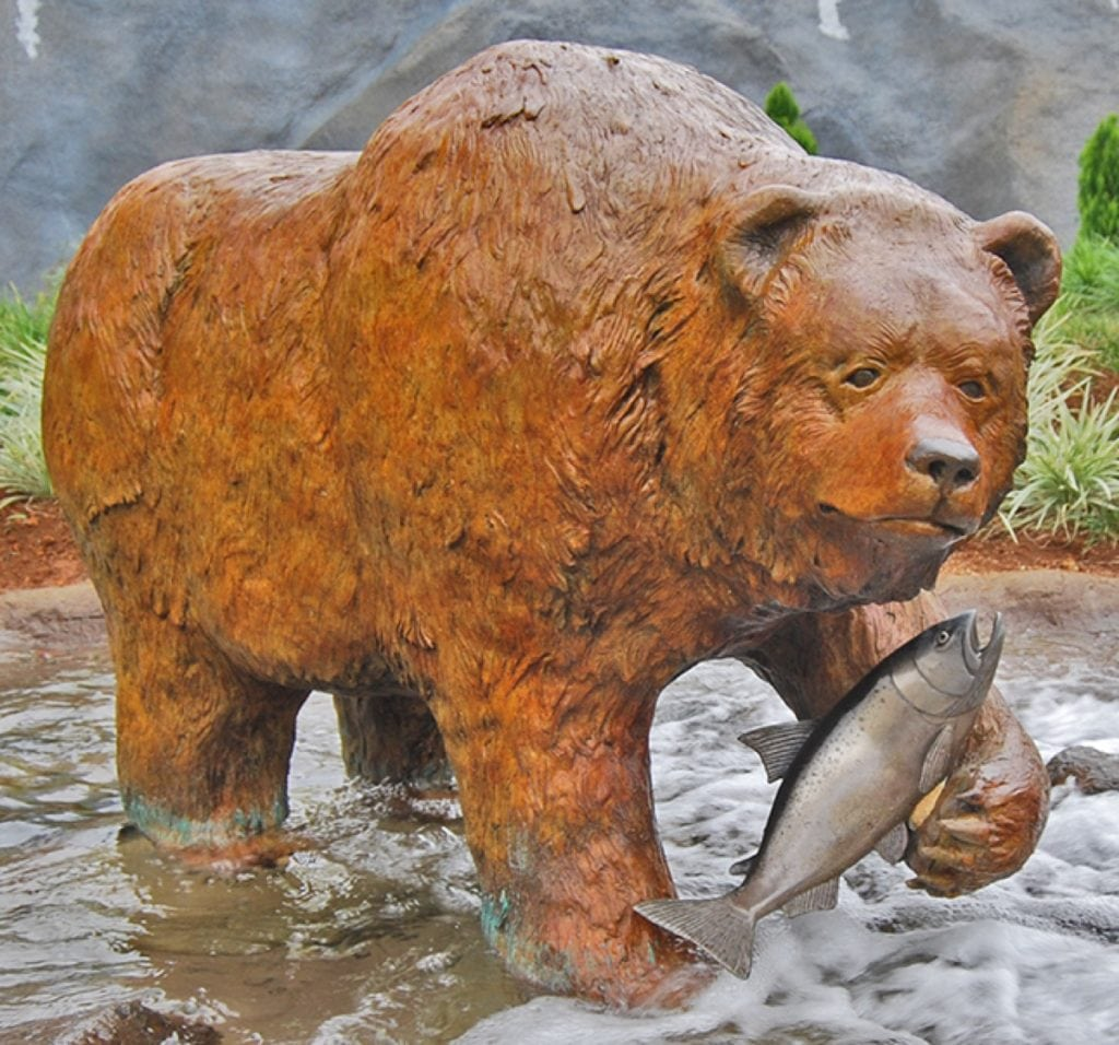 """Shoh"" = Athabascan for bear- Kodiak brown bear with silver salmon"